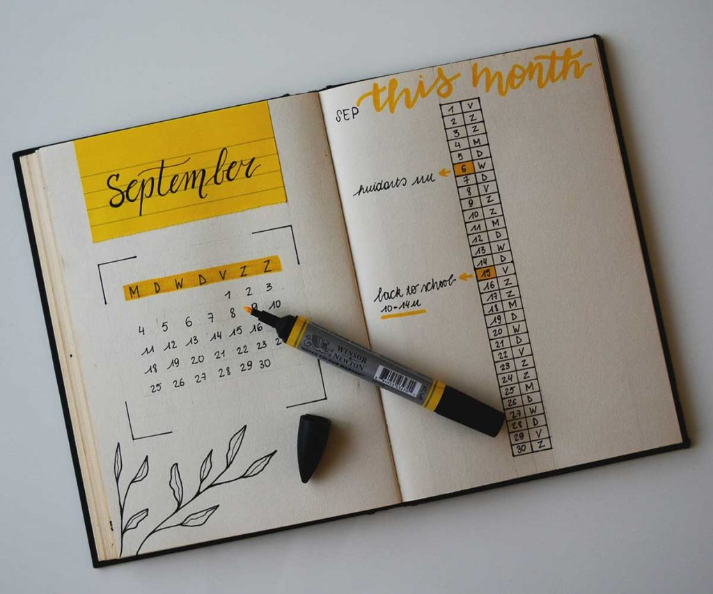 image of journal monthly spread tracking