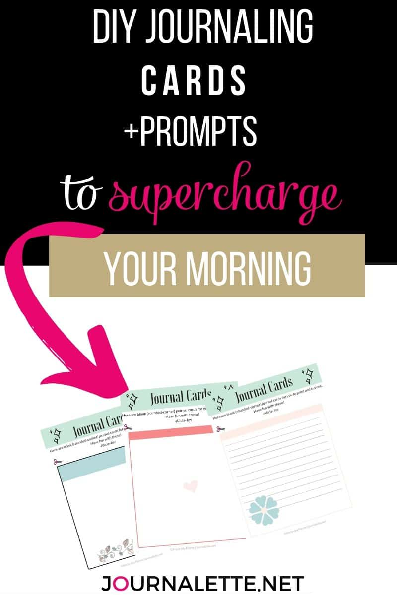 image of jouranaling cards with text box above reading diy journaling cards and prompts to supercharge your morning routine