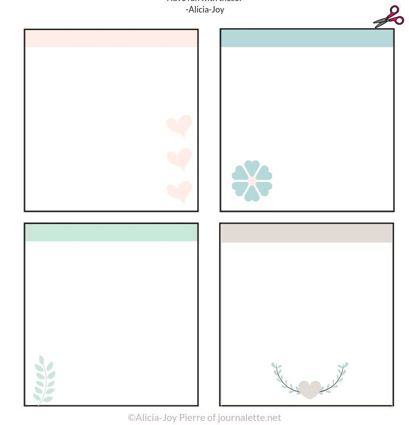 image of diy journaling cards with square borders