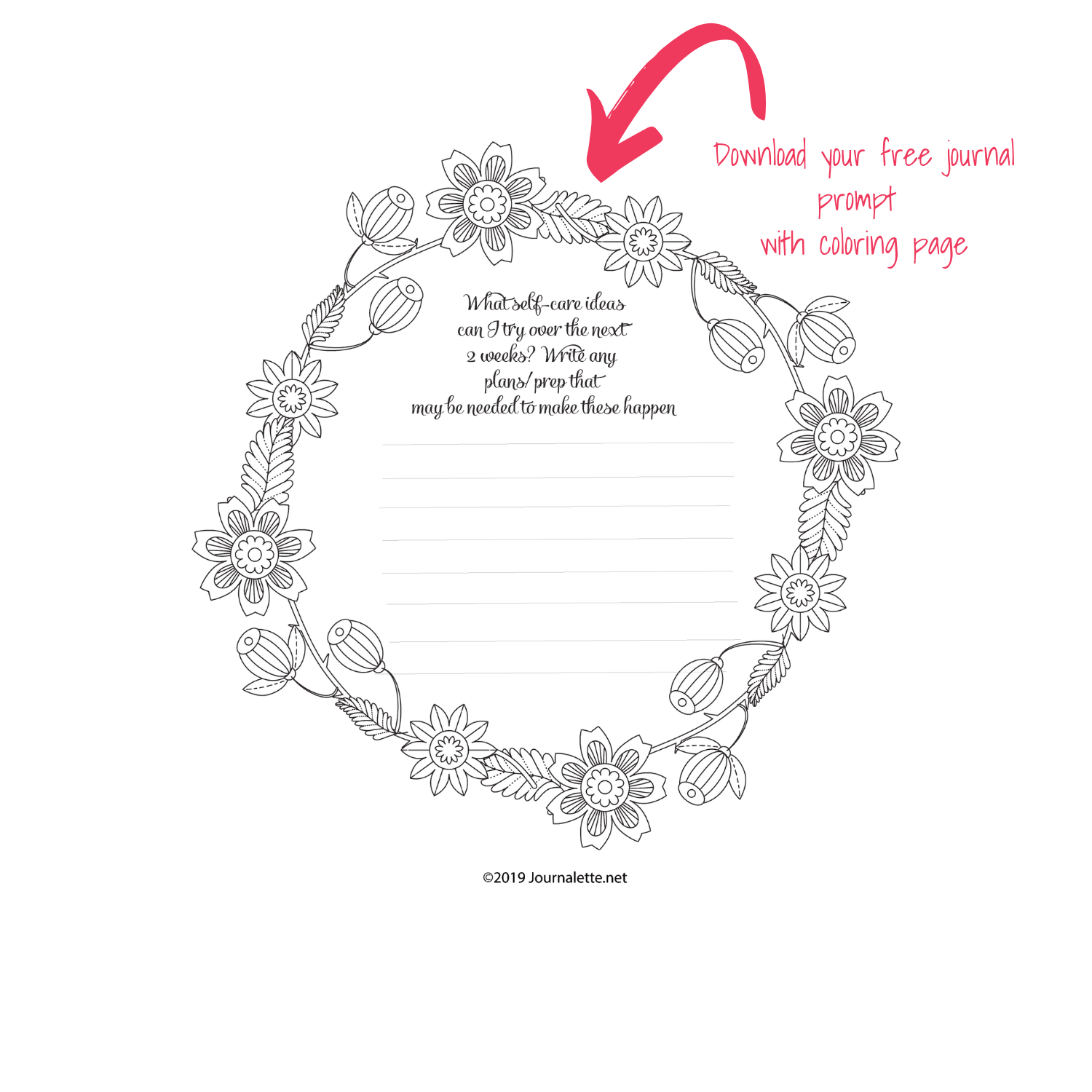 image of printable self care strategies journal prompt coloring page