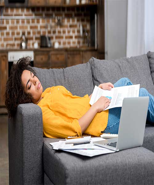 image of person on couch for how to stop obsessing over rejection