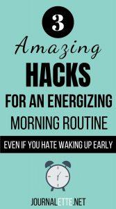 image of text box amazing hacks for energizing morning routine