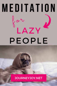 image of puppy with text box above meditation for lazy people